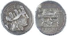 Ancient Coins - P. Furius Crassipes AR Denarius, Good Very Fine, 84 B.C.E.