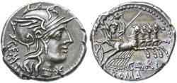 Ancient Coins - C. Aburius Geminus AR Denarius, About Extremely Fine, Pedigreed!, 134 B.C.E.