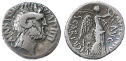 Ancient Coins - Mark Antony & L. Scarpus AR Denarius, Cabinet toned AVF, Summer 31 B.C.E., Cyrene Mint