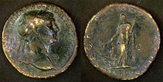 """Ancient Coins - Trajan SCARCE """" ARAB ADQ """" Arabia Sestertius, VF, 112-114 C.E."""