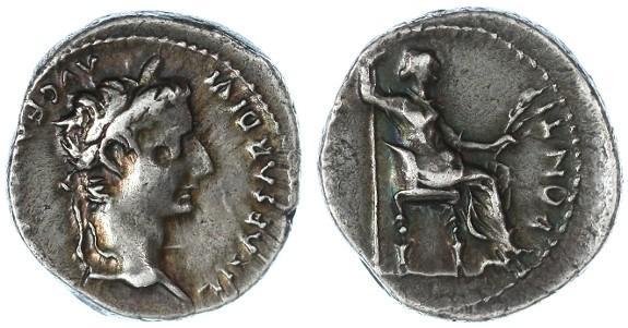 "Ancient Coins - Tiberius AR ""Tribute Penny"" Denarius, GVF with nice irridescent toning, 14 - 37 C.E."
