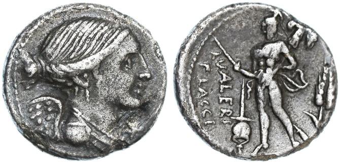 Ancient Coins - Roman Republic L. Valerius Flaccus AR Denarius, toned VF, 108/107 B.C.E.