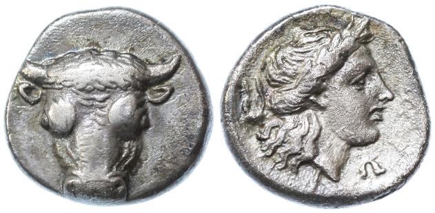 Ancient Coins - Phokis, Federal Coinage AR Triobol,  GVF/AEF, time of the Third Sacred War, 354 - 352 B.C.E.