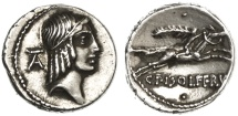 Ancient Coins - C. Calpurnius Piso Frugi AR Denarius, Extremely Fine with lovely toning, 61 B.C.E.