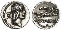 Ancient Coins - C. Calpurnius Piso Frugi AR Denarius, Extremely Fine with lovely toning, 61 B.C.E.
