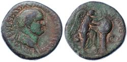 Ancient Coins - Vespasian AE Sesterius, Judaea Capta type, VERY RARE Variety, Pedigreed! 72/73 C.E.