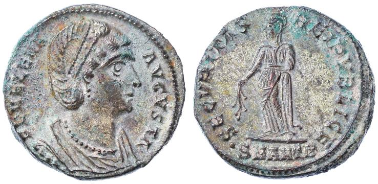 Ancient Coins - Helena Silvered Follis, SUPERB EF, 327 - 329 C.E.