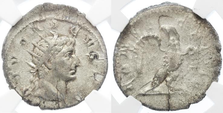 Ancient Coins - Divus Augustus AR Antoninianus by Trajan Decius, Scarce, NGC Ch. VF, 251 C.E.