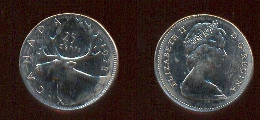 Item #3501, EXTREMELY RARE HIGHLY COLLECTIBLE ERROR QUARTER FROM CANADIAN  MINT, UNUSUAL PIECE 1978,