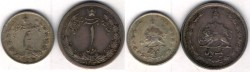 World Coins -  Item #1827 Pahlavi (Iran Dynasty) Reza Shah (SH 1304-1320) 2 Silver coins (0ne & half RIAL), 1312 & 1313 SH (1933 & 1934) KM #1129 & KM #1128 GREAT CHANCE TO OWN BOTH AT ONCE!