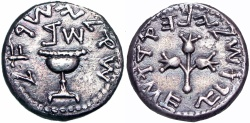 Ancient Coins - JUDAEA. FIRST JEWISH WAR SHEKEL. YEAR 2 (67 CE).