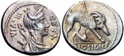 Ancient Coins - Roman republic;  C. Hosidius C.f. Geta. 64 BC. EX NAC.