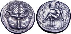 Ancient Coins - Bruttium, Rhegion AR Tetradrachm. Circa 435-425 BC.