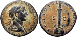 Ancient Coins - Trajan's Column, TRAJAN. 98-117 AD. Æ As, lovely example !!!
