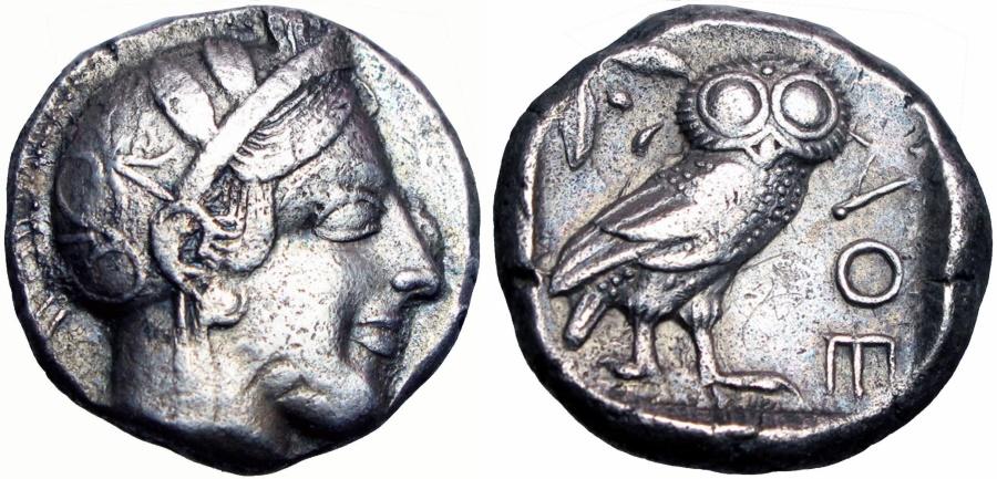 Ancient Coins - ATTICA, Athens. Circa 454-404 BC. AR Tetradrachm .