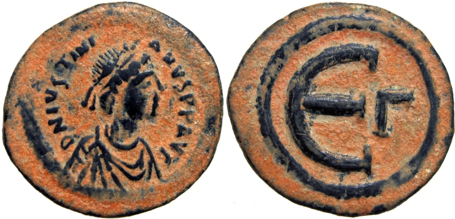 Ancient Coins - Justinian I. 527-565. Æ 5 Nummi , Stunning bold example !