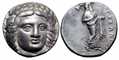 Ancient Coins - Satraps of Karia, Maussolos AR Tetradrachm. Halikarnassos, circa 377-353 BC.