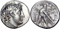 Ancient Coins - Seleukid Kings of Syria, Demetrios II Nikator AR Tetradrachm. Tyre, Dated SE 184 = 129-128 BC.