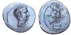 Ancient Coins - OCTAVIAN.  30-29 B.C., Commemorating the naval victory of Actium.