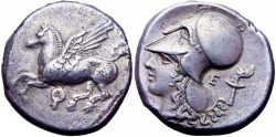 Ancient Coins - Corinthia, Corinth AR Stater. Circa 375-300 BC. From the D.V. Collection.