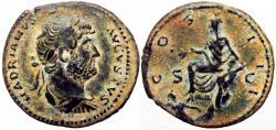 Ancient Coins - Hadrian. AD 117-138. Æ As , bold Hadrian portrait.