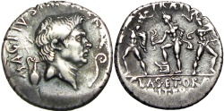 Ancient Coins - Sextus Pompey AR Denarius. Uncertain mint in Sicily, (Catania?), 37-36 BC.