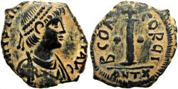 Ancient Coins - Anastasius I Æ Decanummium. Antioch, AD 512-518. Very Rare, best of four known.