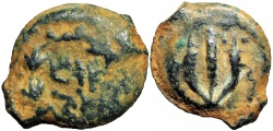 Ancient Coins - JUDAEA, The last of the Hasmoneans. Mattathias Antigonos. 40-37 BCE. well centered for the type !!!!