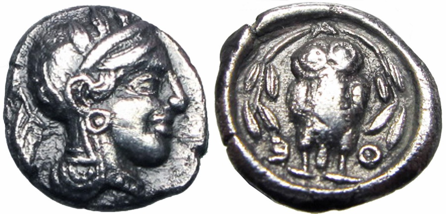 Ancient Coins - ATTICA, Athens. Circa 454-404 BC. AR Hemidrachm (2.01 gm) , lovely fraction !!!