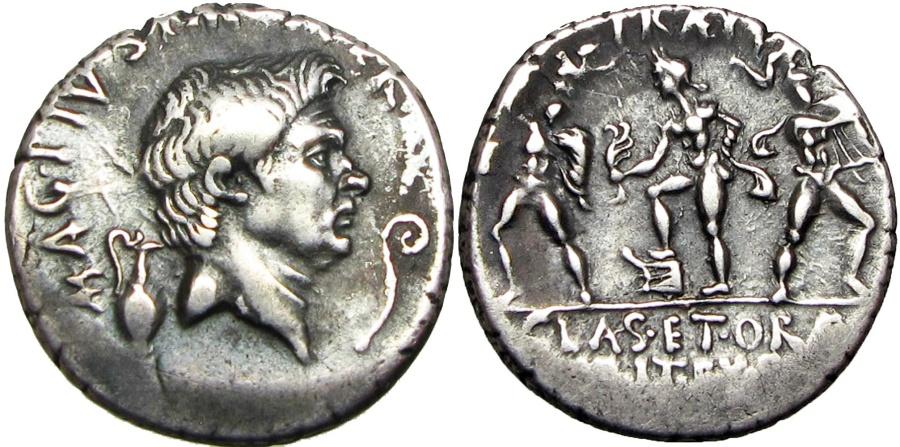 ef2bf38bd3 Ancient Coins - Sextus Pompey AR Denarius. Uncertain mint in Sicily, ( Catania?