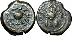 Ancient Coins - JUDAEA, Jewish War. 66-70 CE. Æ Eighth Shekel .