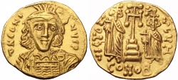 Ancient Coins - Constantine IV Pogonatus, with Heraclius and Tiberius. 668-685. AV Solidus.