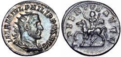 Ancient Coins - PHILIP I , The Arab . 244-249 AD. AR Antoninianus , very sharp portrait .