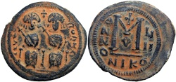 Ancient Coins - EARLY ISLAMIC, Arab-Byzantine. In the style of Justin II. After 641 AD. Æ Follis.