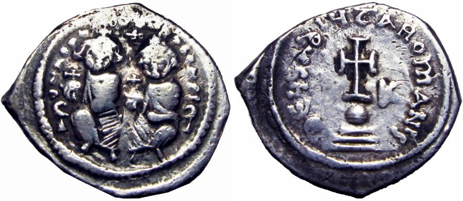 Ancient Coins - Heraclius. 610-641. AR hexagram .