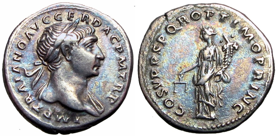 Ancient Coins -  Trajan. AD 98-117.  Lovely deep toning !!!