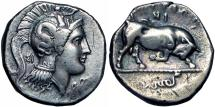 Ancient Coins - Lucania, Thourioi AR Distater. c. 350-300.