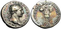 Ancient Coins - Trajan. AD 98-117. AR Denarius, wonderful old cabinet tone.