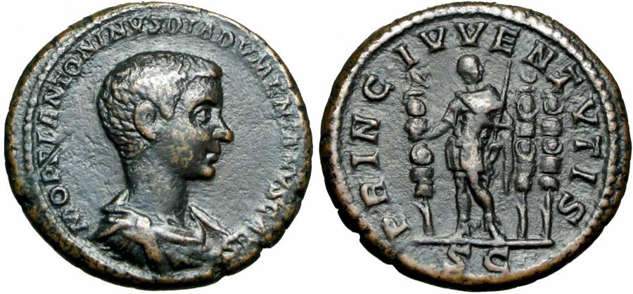 Ancient Coins - Diadumenian, as Caesar, Æ As. Rome, AD 217-218.