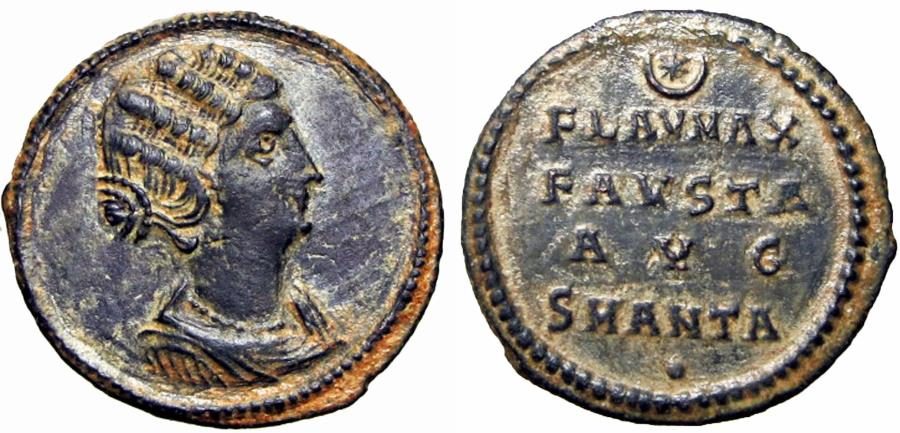 Ancient Coins - FAUSTA, wife of Constantine I. Struck 324-325 AD. Extremely rare.