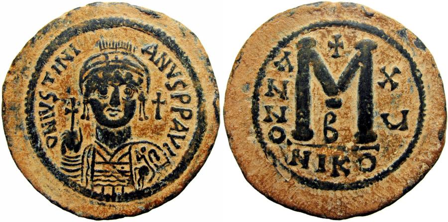 Ancient Coins - Justinian I. 527-565. Well centered strike , stunning example.