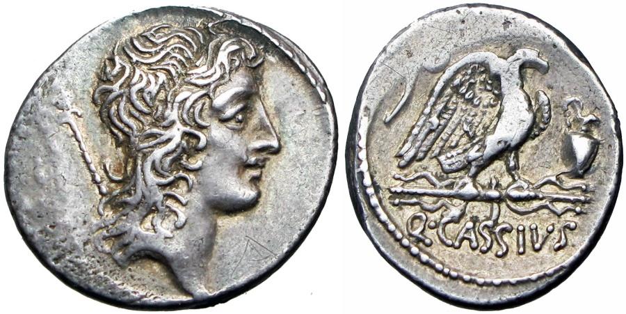 Ancient Coins - Roman republic;  Q. Cassius Longinus. 55 BC. , bold and lovely toned, EX NAC.