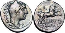 Ancient Coins - L. Thorius Balbus AR Denarius. Rome, 105 BC.