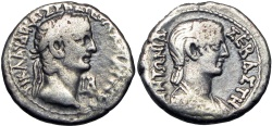 Ancient Coins -  EGYPT, Alexandria.Claudius, with Antonia. 41-54 AD.