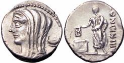 Ancient Coins - Roman republic,  L. Cassius Longinus. 60 BC.; Very bold coin, EX NAC.