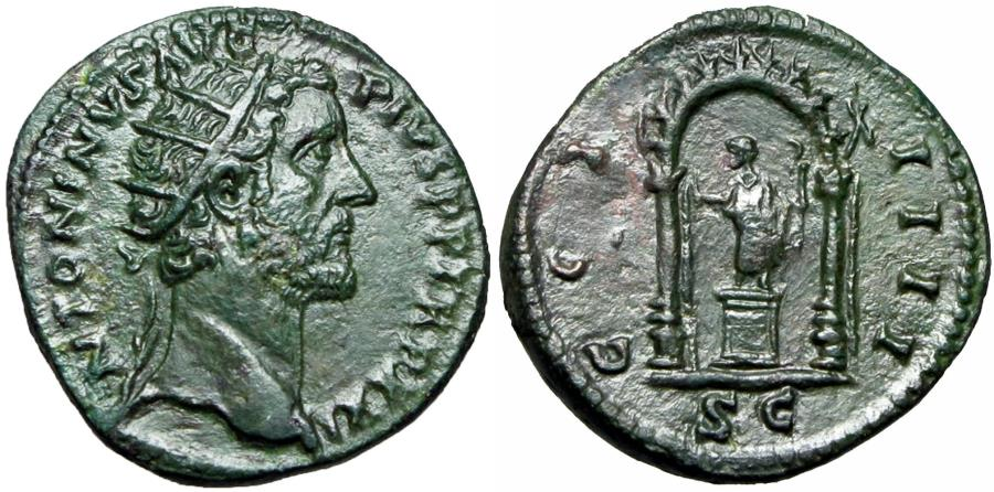 Ancient Coins - Antoninus Pius Æ Dupondius. Rome, AD 157-158.