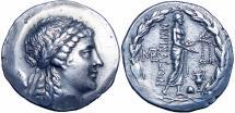 Ancient Coins - Aeolis, Myrina AR Stephanophoric Tetradrachm. Circa 160-143 BC.