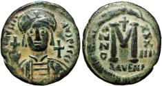 Ancient Coins - Justinian I. 527-565. Æ Follis, Ravenna mint, Rare and stunning example.