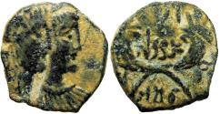 Ancient Coins - NABATAEA. Rabbel II, with his mother  Shaqilat. AD 70-106.