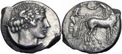 Ancient Coins - Sicily, Katane AR Tetradrachm. c. 450-425.